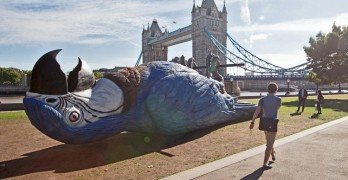 LONDON CELEBRATED THE MONTY PYTHON REUNION BY PUTTING A 50-FOOT DEAD PARROT IN POTTERS FIELD PARK